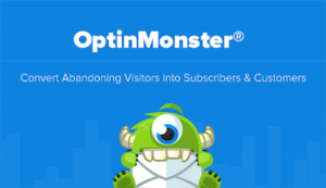 OptinMonster plugin logo with little green cyclops eating an envelope.
