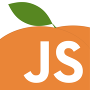 JavaScript logo on orange peach.