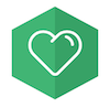 Being Human dark green logo with white heart icon.