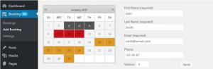 Booking Calendar plugin screenshot with highlighted dates on calendar.