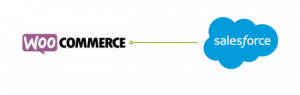 WooCommerce logo pointing to Salesforce.