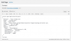 WordPress editor pasted structured data.