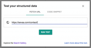 Structured Data Testing Tool with URL field.