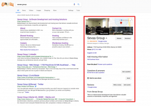 SERP for Sevaa Group with highlighted knowledge card on right hand side of screen.