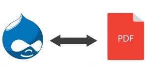 Drupal logo pointing to PDF icon.