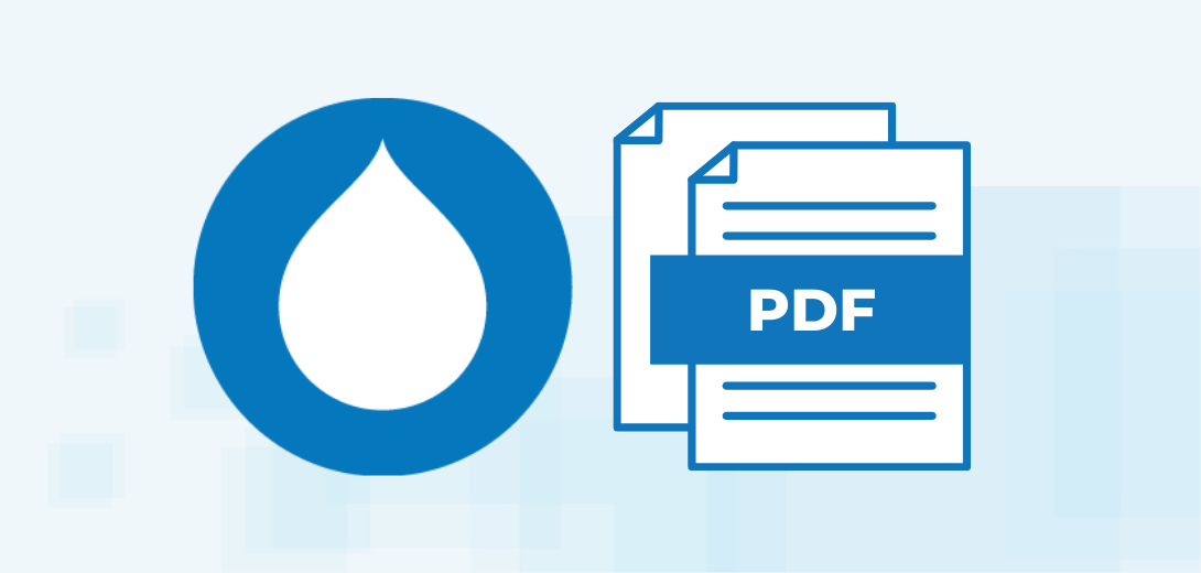 Drupal logo next to PDF icon.