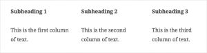 Screenshot of 3 text columns from Gutenberg demo.