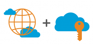 A world symbol plus a cloud with an orange key.