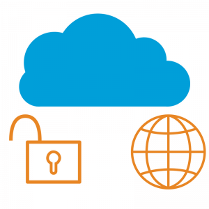 A blue cloud with an open padlock and world symbol underneath.