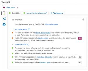 Readability tab of Yoast plugin.