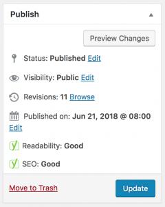 Yoast readability and SEO score.
