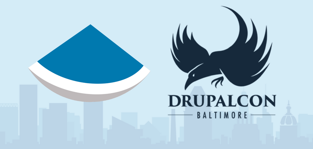 Sevaa logo next to DrupalCon Baltimore raven logo with city skyline.