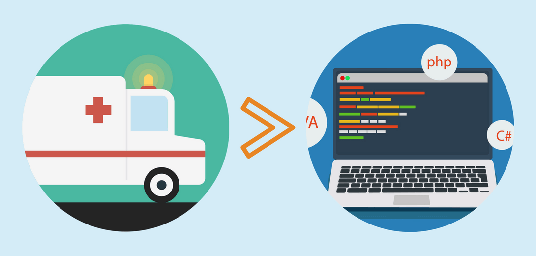 Illustration of ambulance pointing to illustration of laptop with code.
