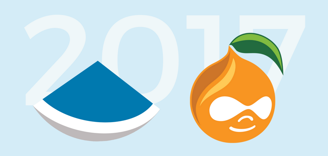 Sevaa logo next to DrupalCamp Atlanta peach logo with 2017 in background.