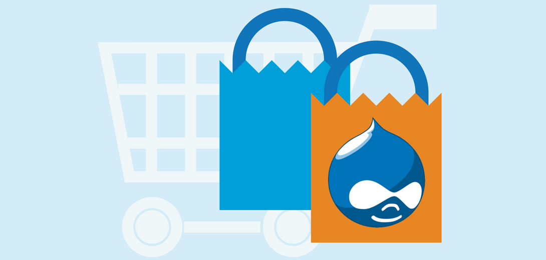 Light blue shopping cart in background with a blue and orange shopping bag branded with Drupal logo.