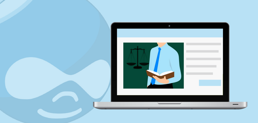 Laptop with lawyer illustration against faded Drupal logo.