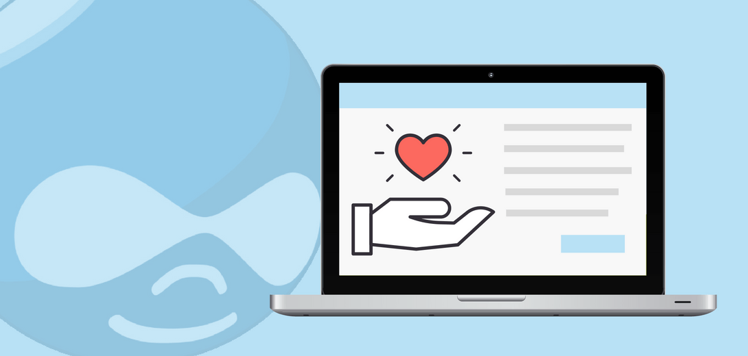 Laptop with illustration of hand holding a heart against faded Drupal logo.