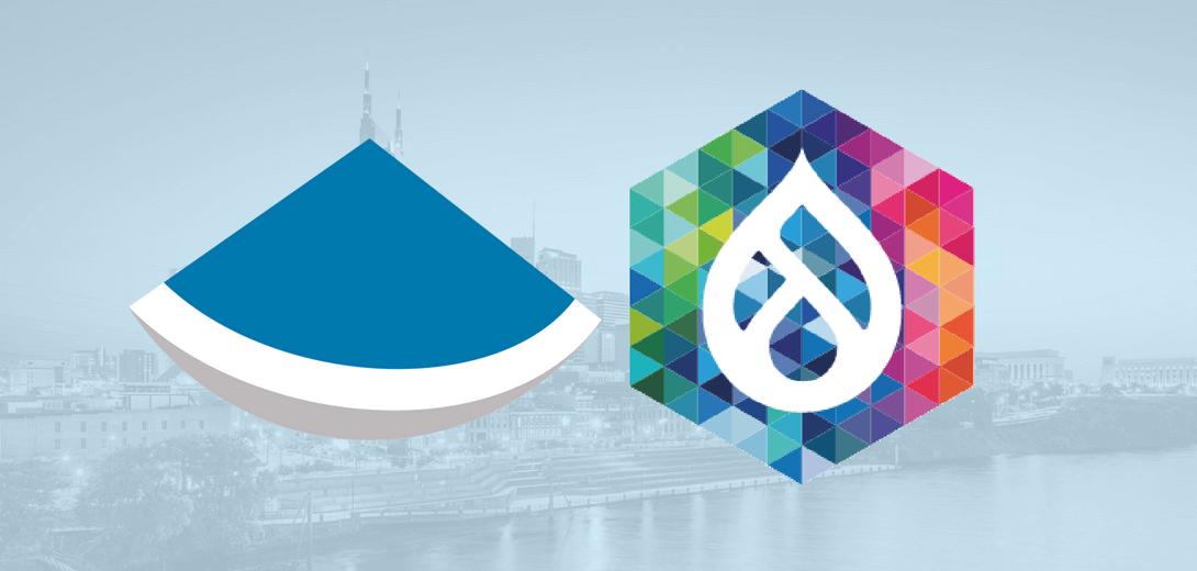 Sevaa logo next to DrupalCon Nashville logo against image of Nashville skyline.