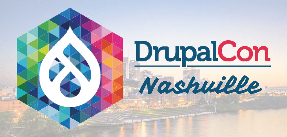 DrupalCon Nashville logo against skyline of Nashville.