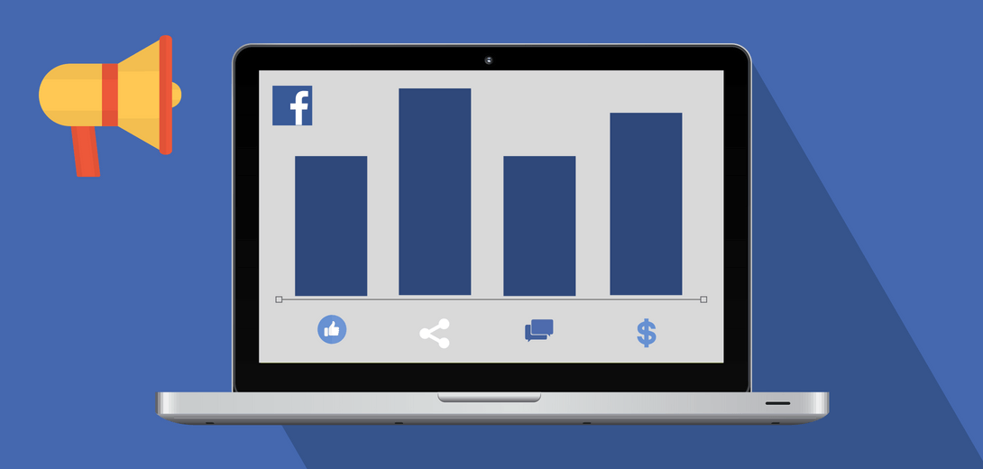 Desktop with bar graph and Facebook logo.