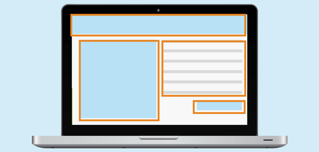 Laptop with landing page example highlighted with orange boxes.
