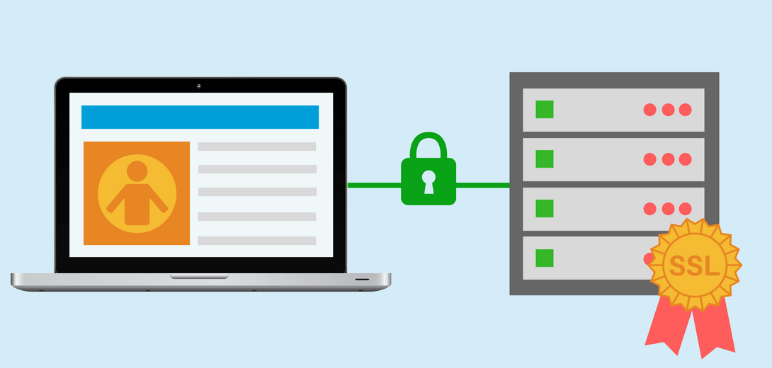 Laptop connected to server with SSL ribbon by green line with a green padlock.