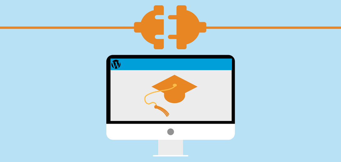 Orange plug over desktop with landing page with graduation cap icon.