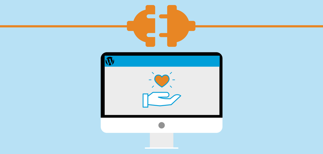 Orange plug over desktop with landing page with hand and heart icon.