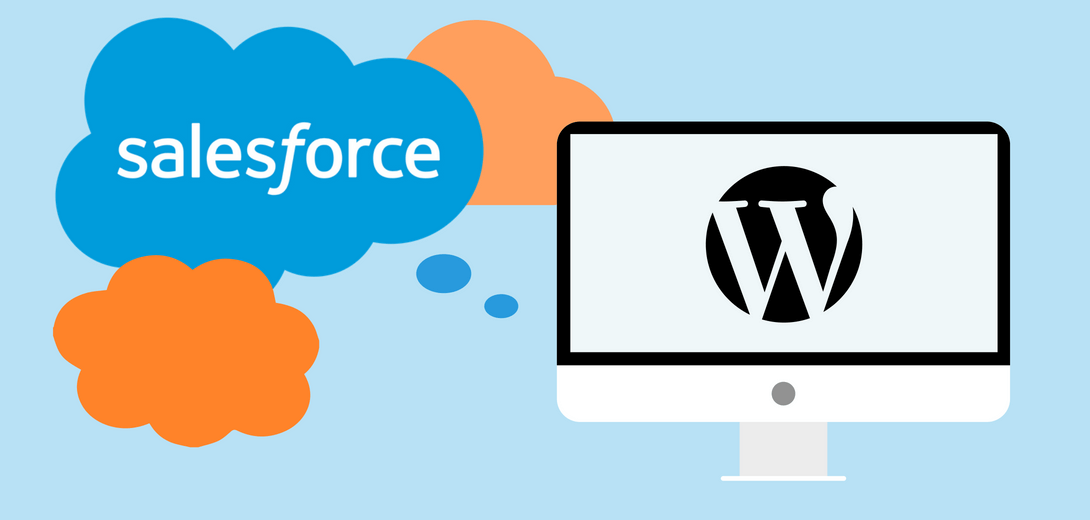 Salesforce cloud logo surrounded by two orange clouds leading to desktop with WordPress logo.