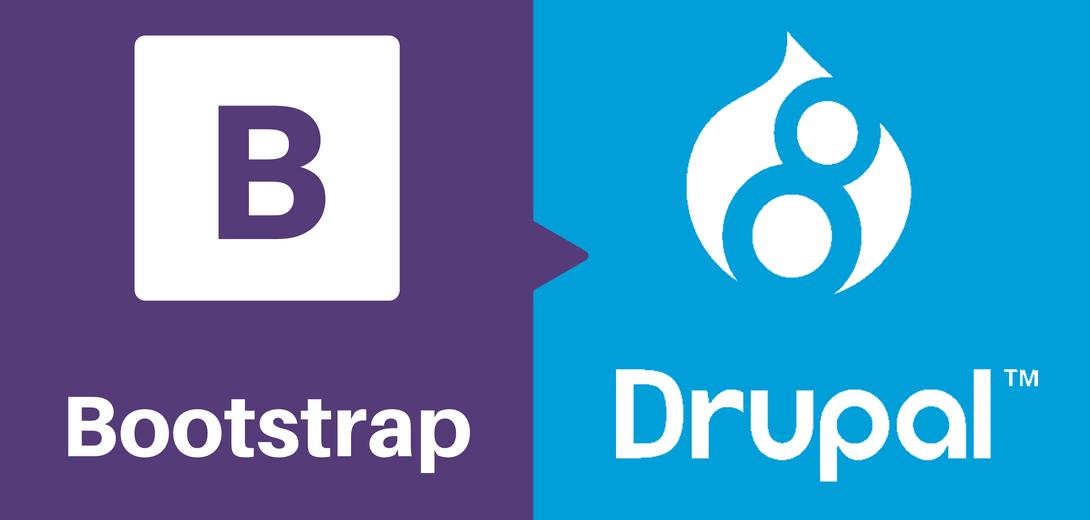Bootstrap logo next to Drupal 8 logo.