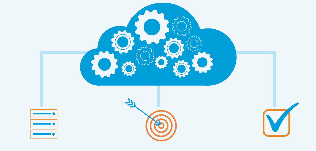 Blue cloud filled with gears with diagram connecting server icon, target icon, and task icon.