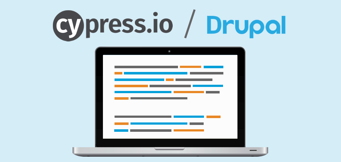 "Laptop with code example and heading ""Cypress.io/Drupal."""