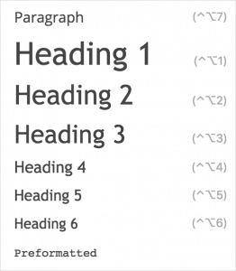 Wordpress heading list.