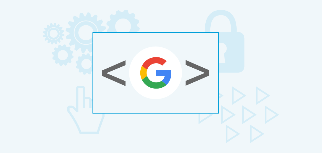 Google logo surrounded by code symbols in a box. Box surrounded by image of gears, mouse pointer, forward arrows, and lock.