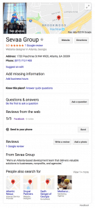 Screenshot of Sevaa's Google My Business listing.