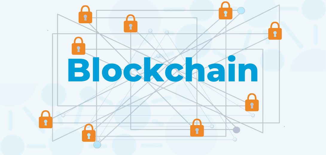 "Web with security lock connections and ""Blockchain"" title."