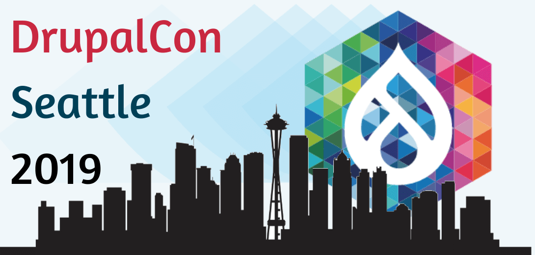 Seattle skyline with DrupalCon logo in the background.