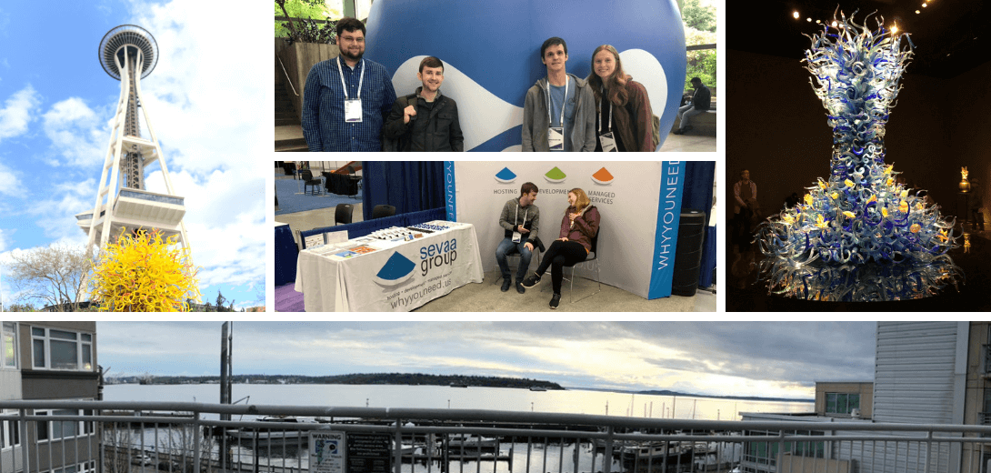 Photo collage of space needle, harbor, Drupal head and Sevaa team.