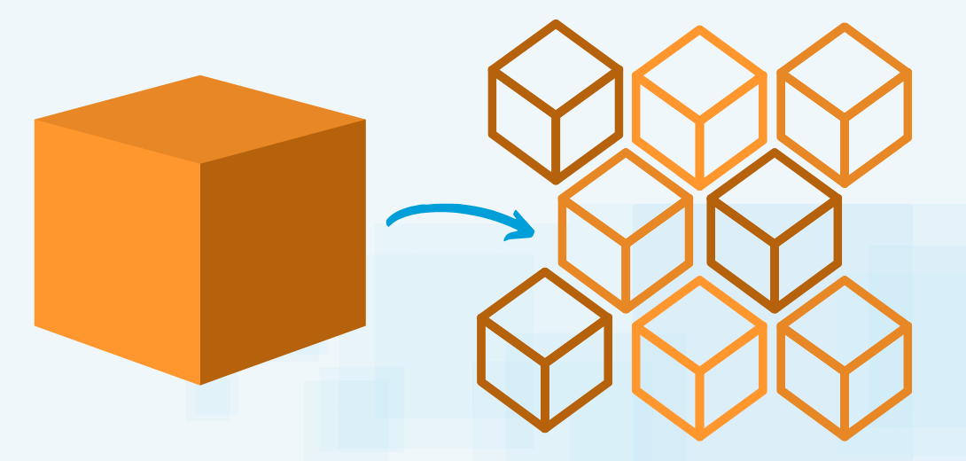 Single orange box with arrow pointing to multiple smaller orange boxes.