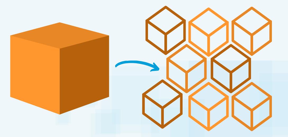 Single orange box with arrow pointing to multiple smaller orange boxes.