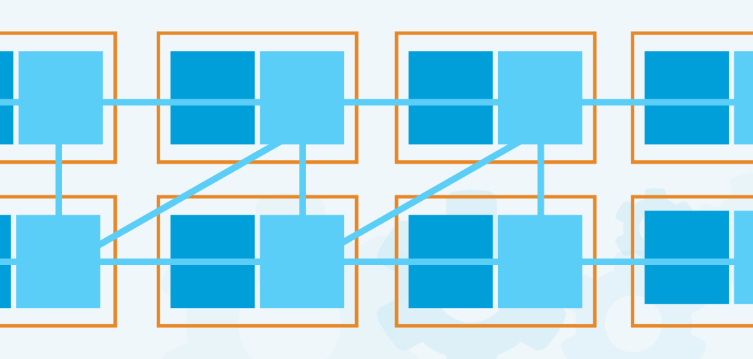 Blue boxes within an orange outlined box connected with light blue line.
