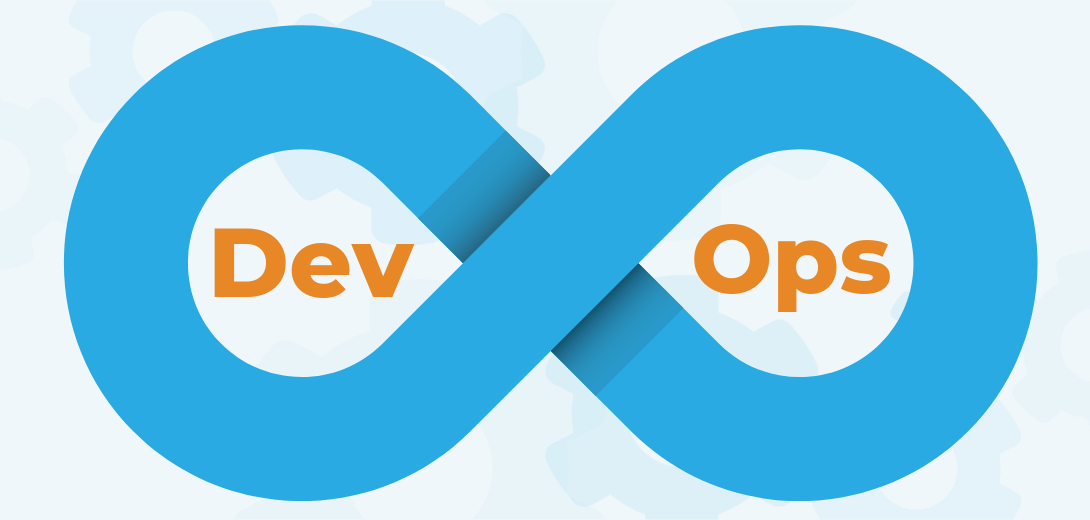 "Blue infinity symbol with ""Dev Ops."""