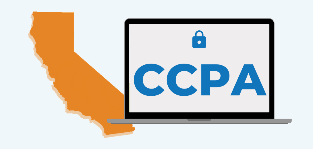 "Orange outline of California state with laptop overlaid with lock icon and ""CCPA."""