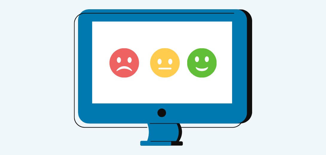 blue computer with sad face, neutral face, and happy face.