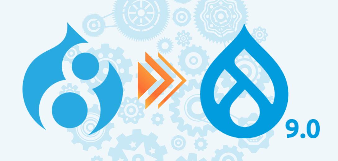 Drupal 8 logo with orange arrow pointing to Drupal 9 logo.
