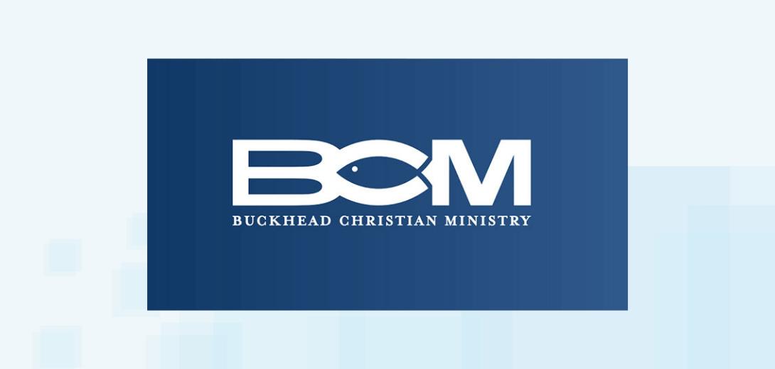 Buckhead Christian Ministry white logo on blue background.